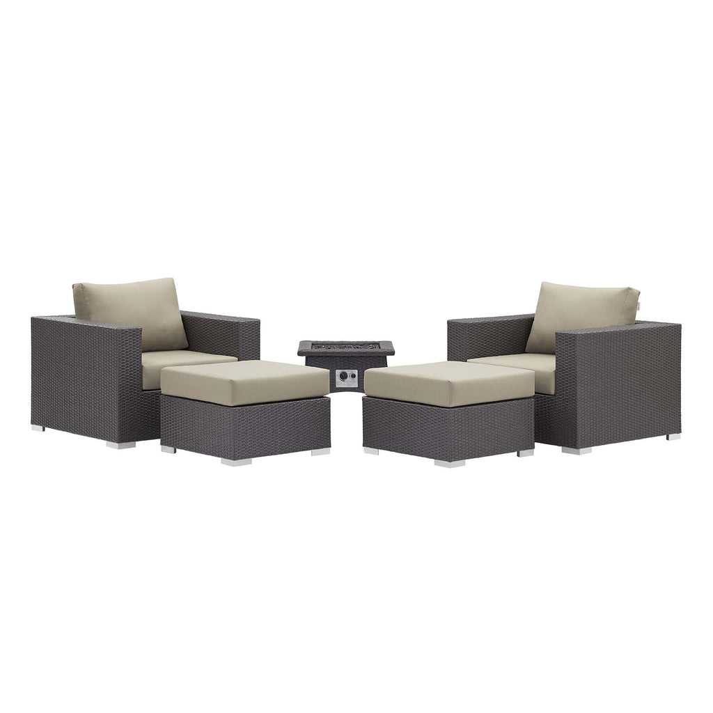 Convene 5 Piece Set Outdoor Patio with Fire Pit in Espresso Beige