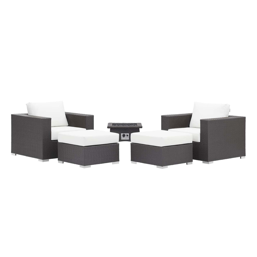 Convene 5 Piece Set Outdoor Patio with Fire Pit in Espresso White