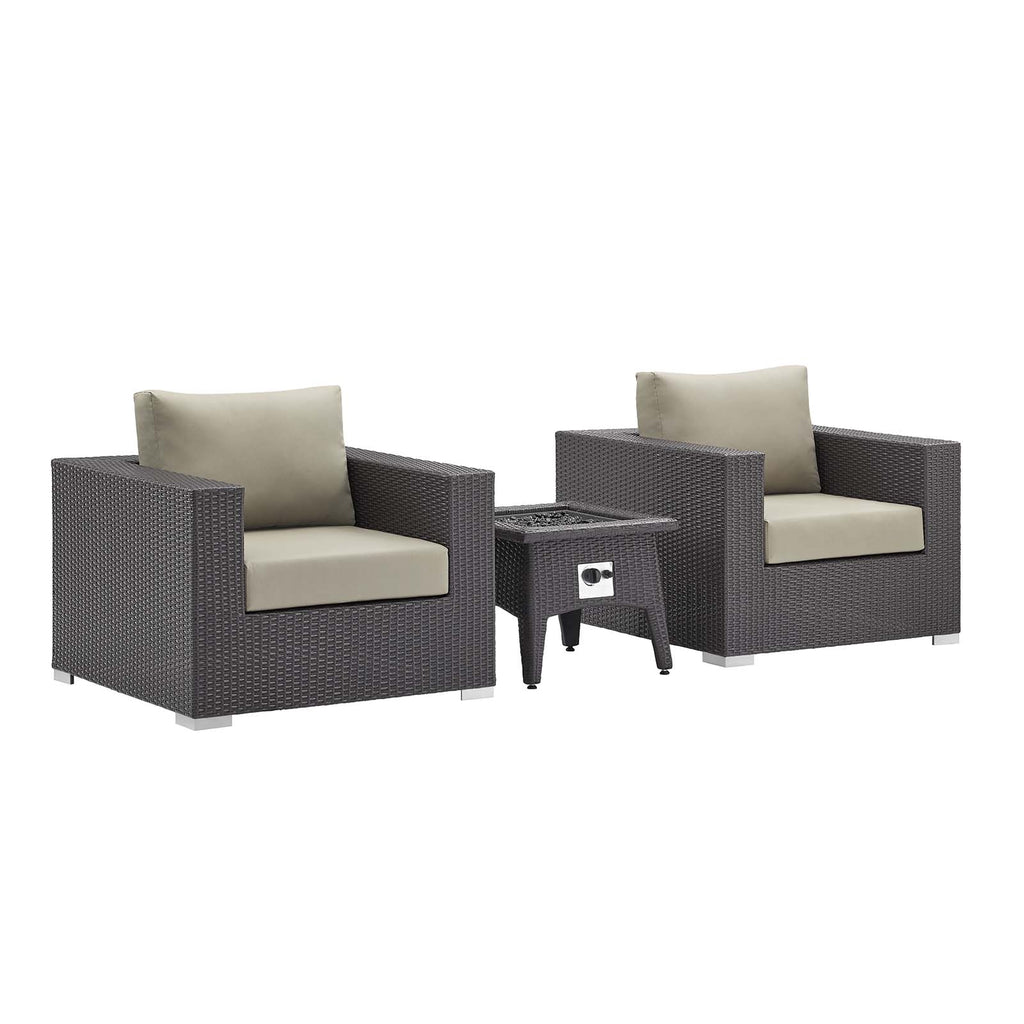 Convene 3 Piece Set Outdoor Patio with Fire Pit in Espresso Beige