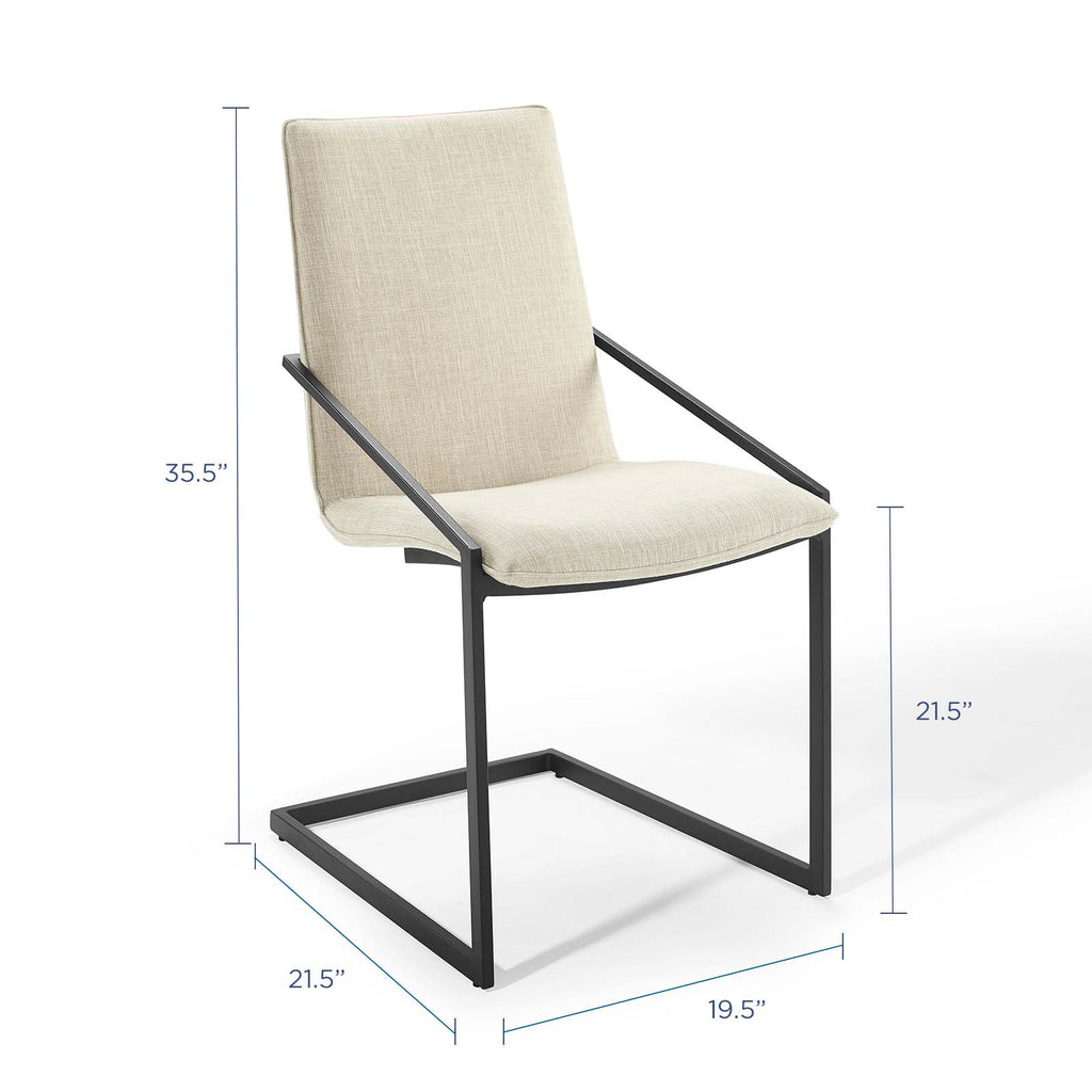 Pitch Upholstered Fabric Dining Armchair in Black Beige
