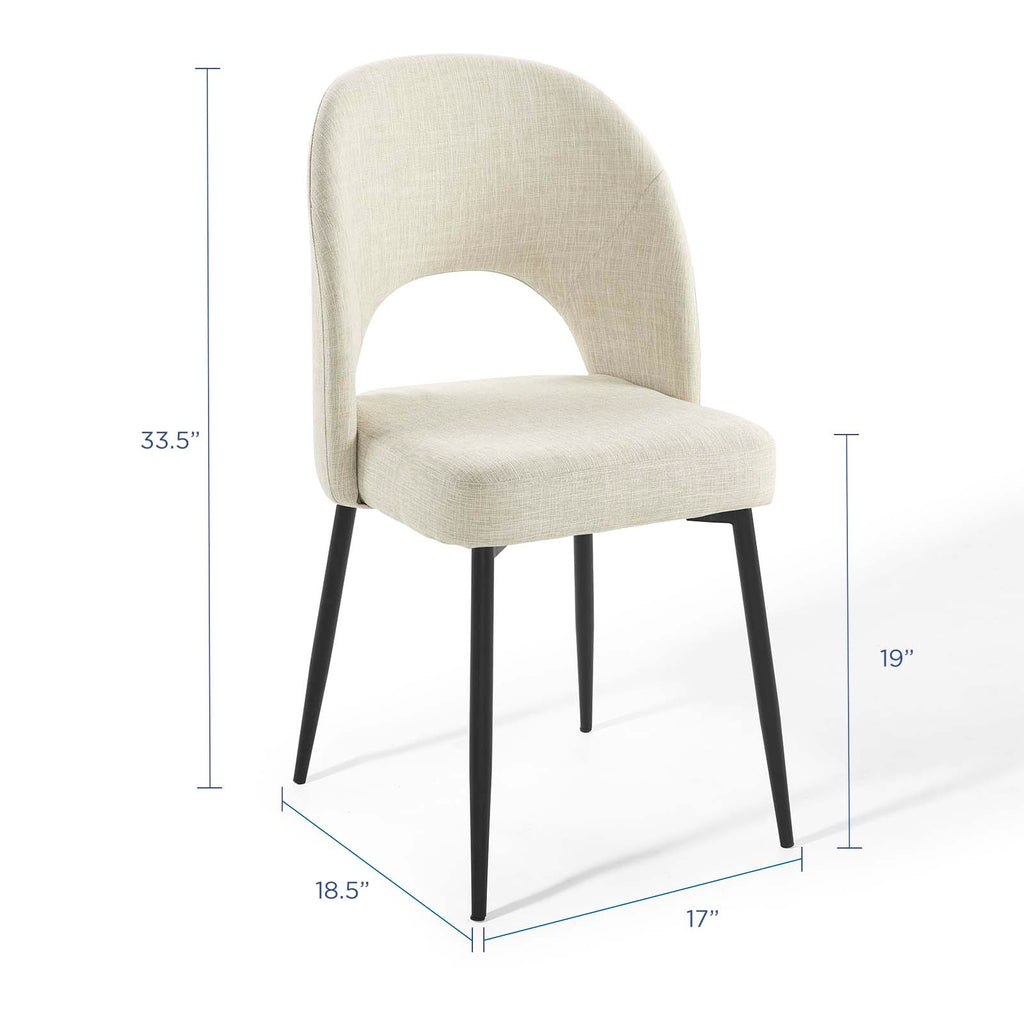 Rouse Upholstered Fabric Dining Side Chair in Black Beige