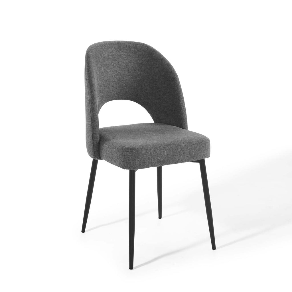 Rouse Upholstered Fabric Dining Side Chair in Black Charcoal