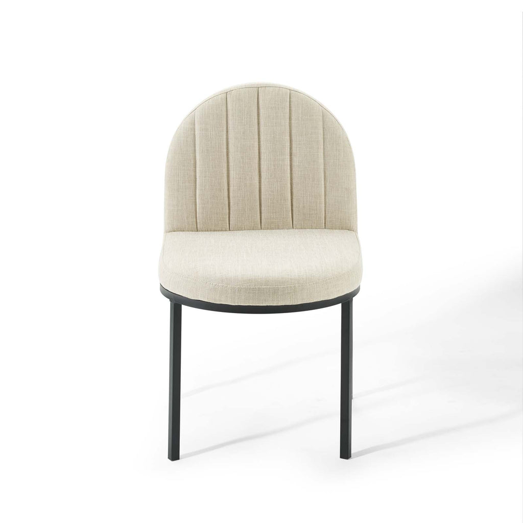 Isla Channel Tufted Upholstered Fabric Dining Side Chair in Black Beige