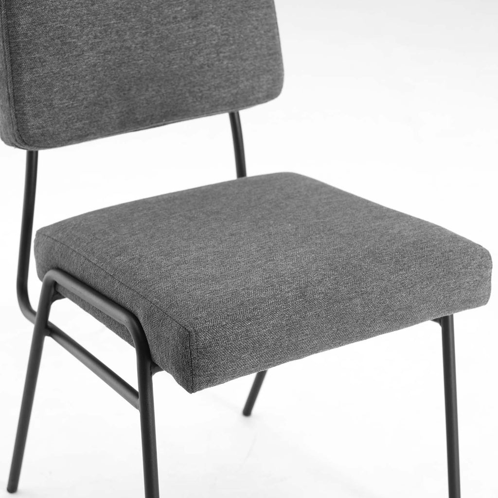 Craft Upholstered Fabric Dining Side Chair in Black Charcoal
