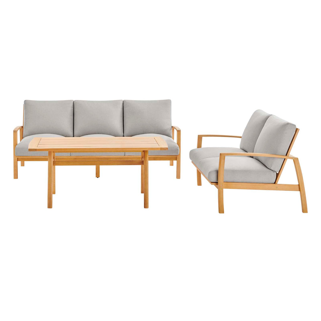Orlean 3 Piece Outdoor Patio Eucalyptus Wood Set in Natural Light Gray