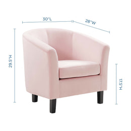 Prospect Performance Velvet Armchair in Pink