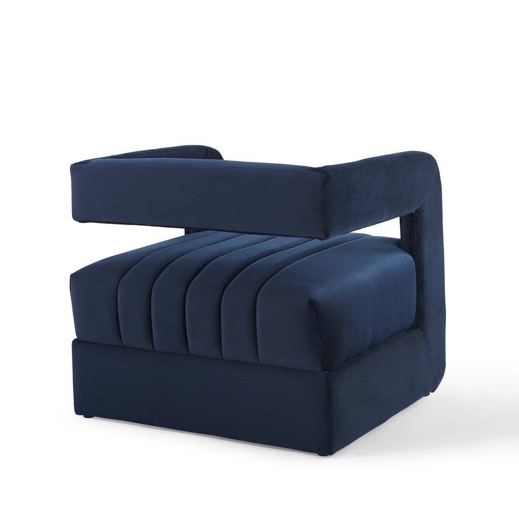 Range Tufted Performance Velvet Accent Armchair Set of 2 in Midnight Blue