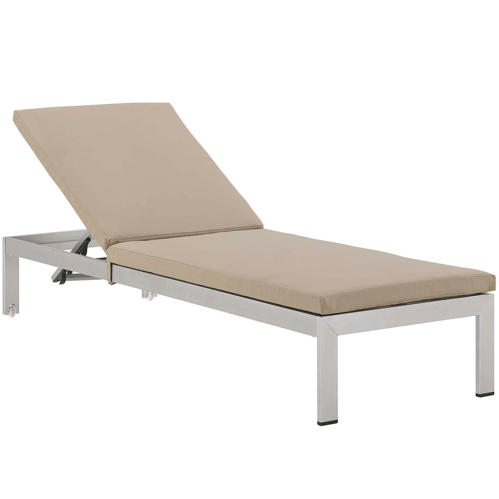 Shore Outdoor Patio Aluminum Chaise with Cushions in Silver Beige