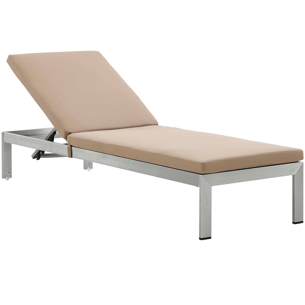 Shore Outdoor Patio Aluminum Chaise with Cushions in Silver Mocha