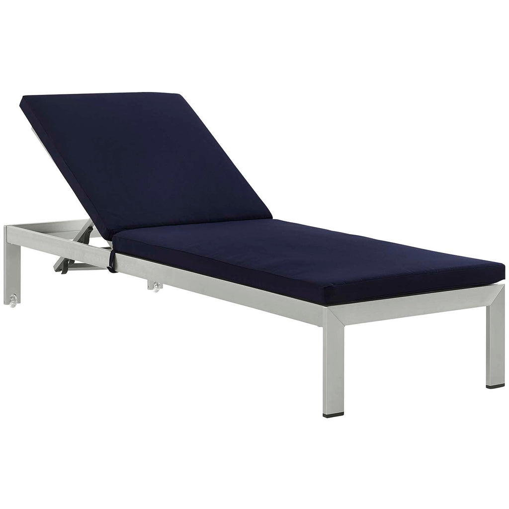 Shore Outdoor Patio Aluminum Chaise with Cushions in Silver Navy