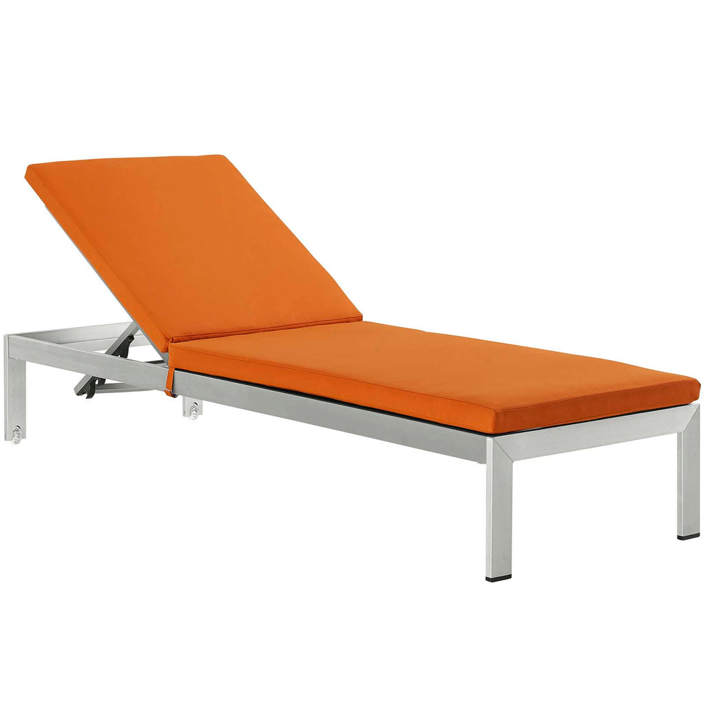 Shore Outdoor Patio Aluminum Chaise with Cushions in Silver Orange