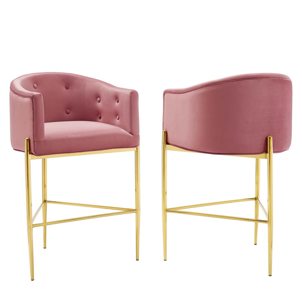 Savour Tufted Performance Velvet Bar Stool Set of 2 in Dusty Rose