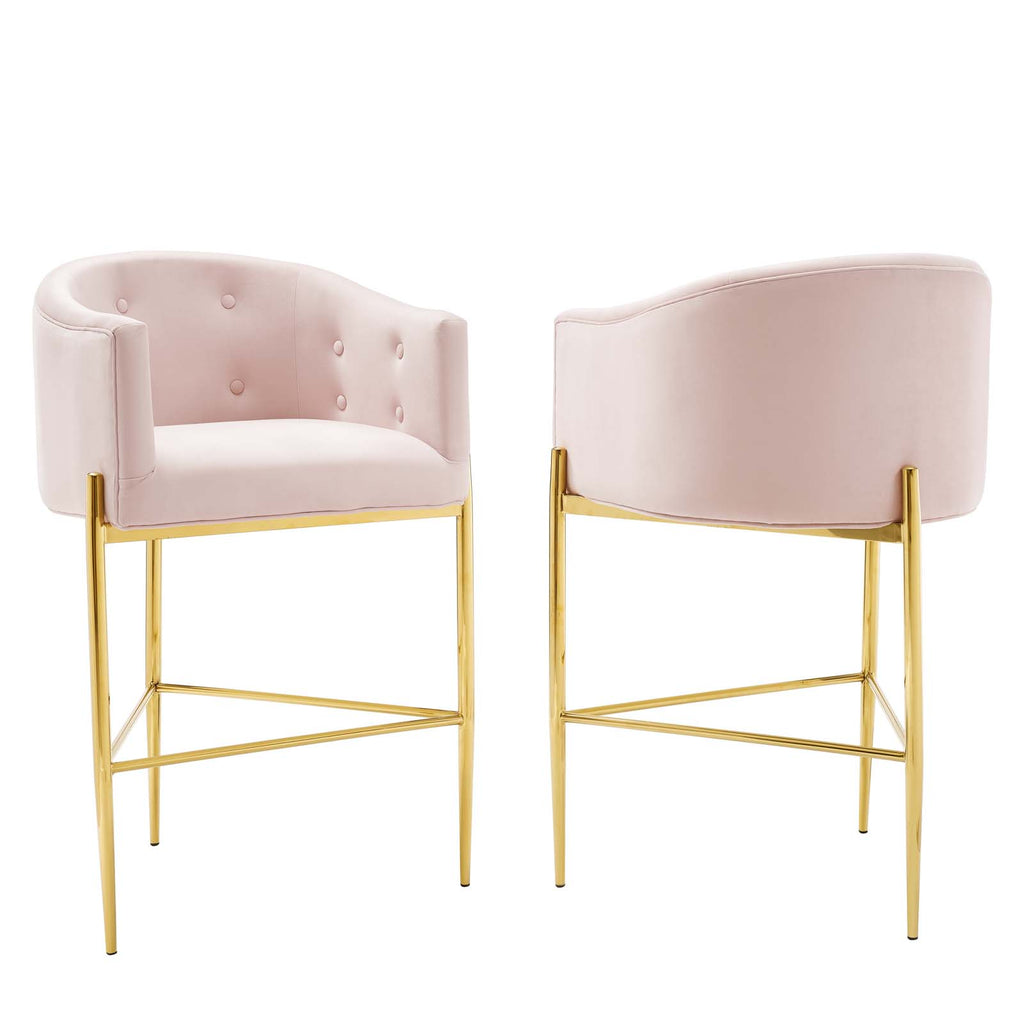 Savour Tufted Performance Velvet Bar Stool Set of 2 in Pink