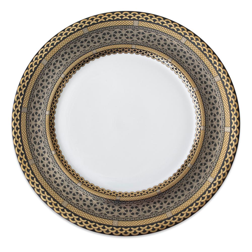 HAWTHORNE ONYX- GOLD, PLATINUM & BLACK CHARGER PLATE