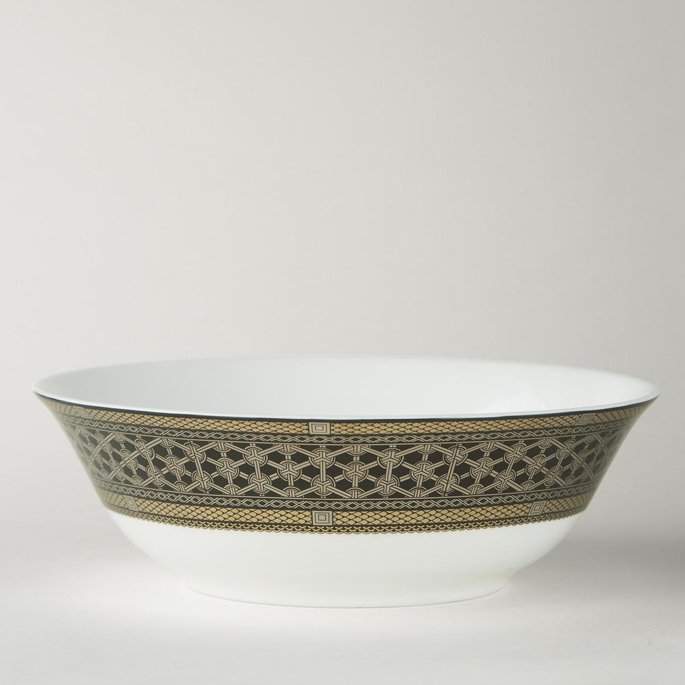 HAWTHORNE ONYX - GOLD, PLATINUM & BLACK SERVING BOWL