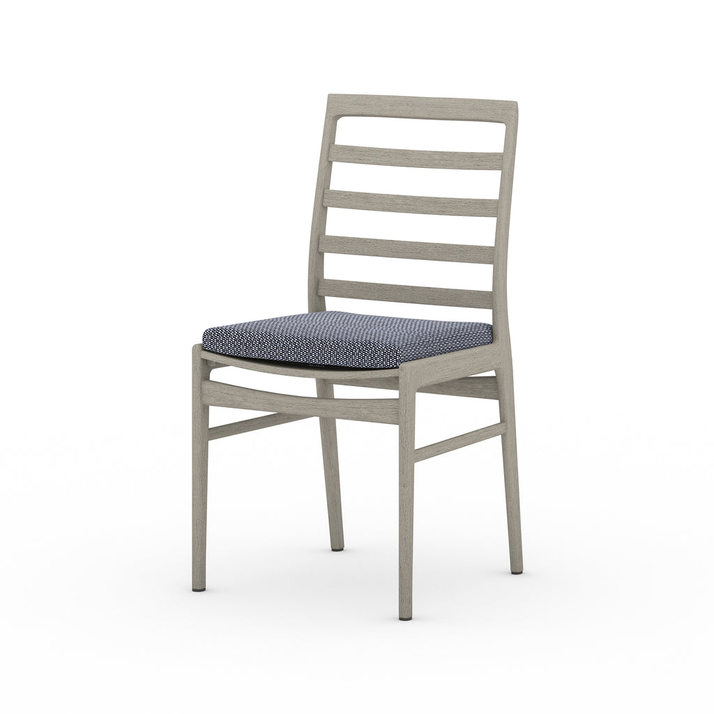 Linnet Outdoor Dining Chair - Weathered Grey / Faye Navy