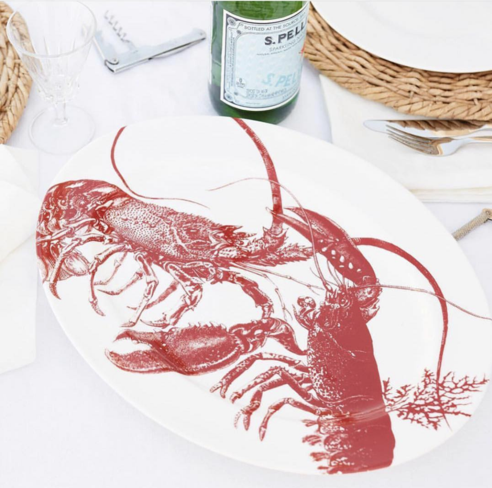 LOBSTERS RED LARGE OVAL PLATTER