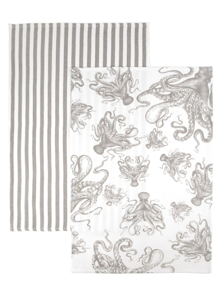 LUCY THE OCTOPUS IN MIST SET/2 THICK, COTTON KITCHEN TOWELS
