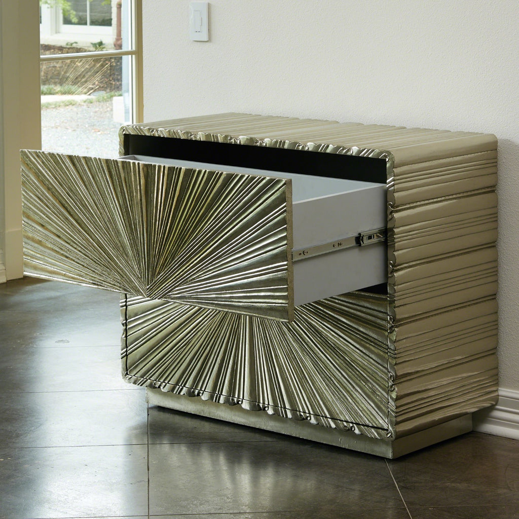Linen Fold Two Drawer  Chest - Silver