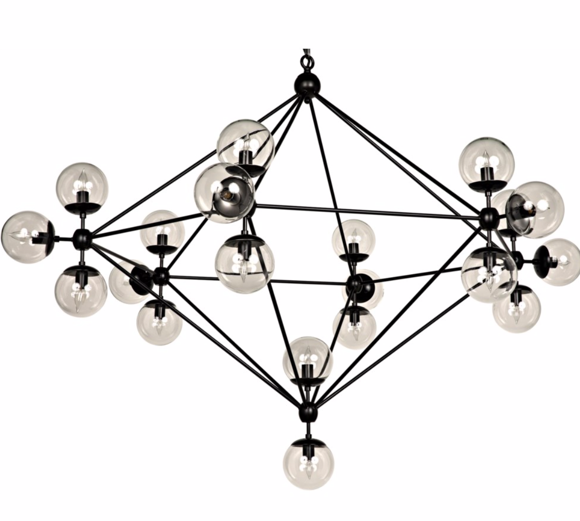 Pluto Chandelier, Black Metal, Large