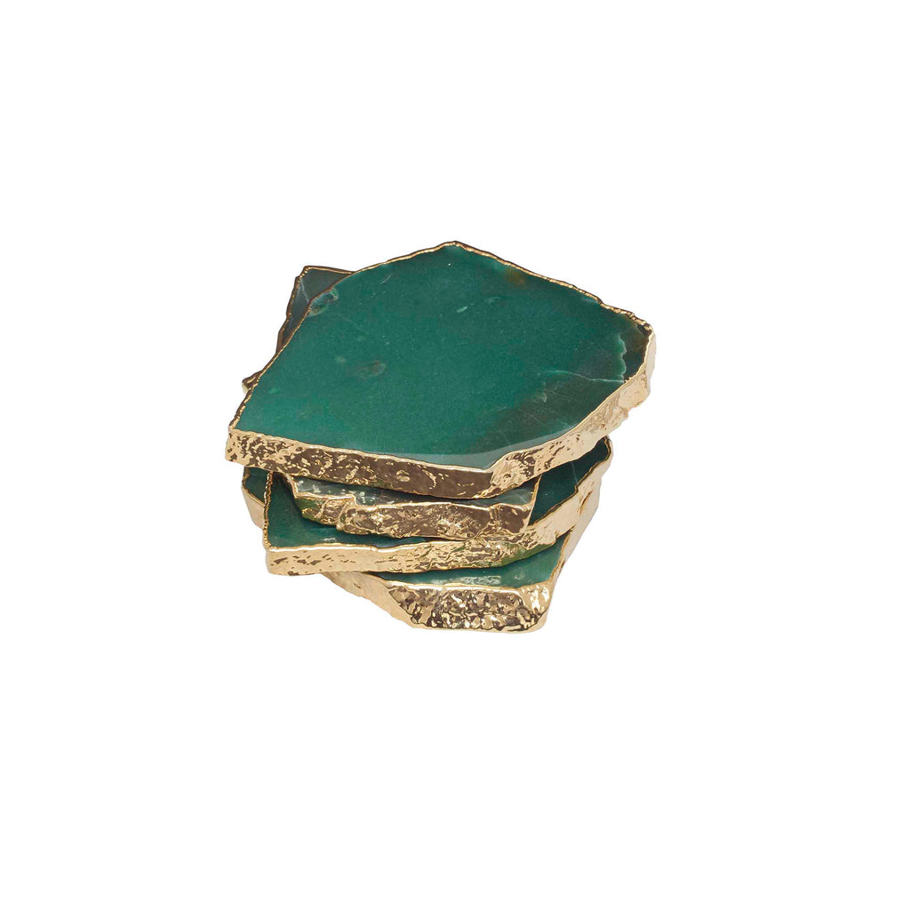 Sunland Green Quartz Coasters, Set Of 4