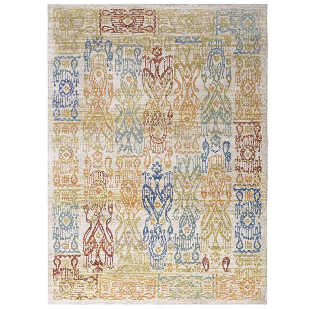 Solimar Distressed Southwestern Aztec 8x10 Area Rug