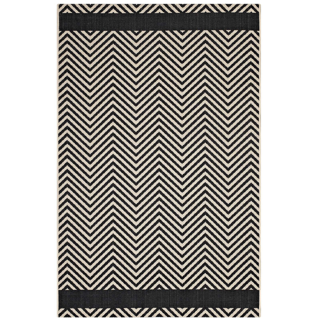 Optica Chevron With End Borders 8x10 Indoor and Outdoor Area Rug in Black and Beige