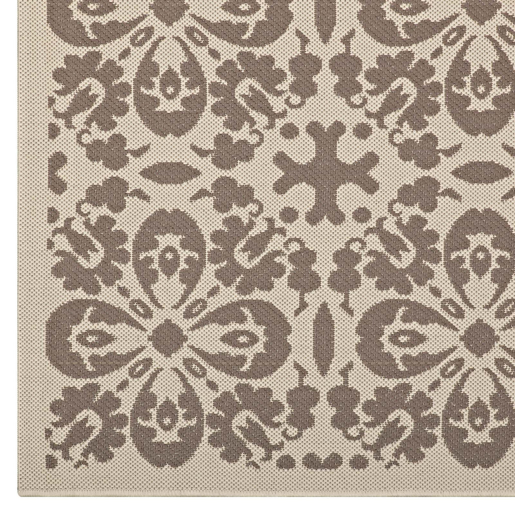 Ariana Vintage Floral Trellis 8x10 Indoor and Outdoor Area Rug in Light and Dark Beige