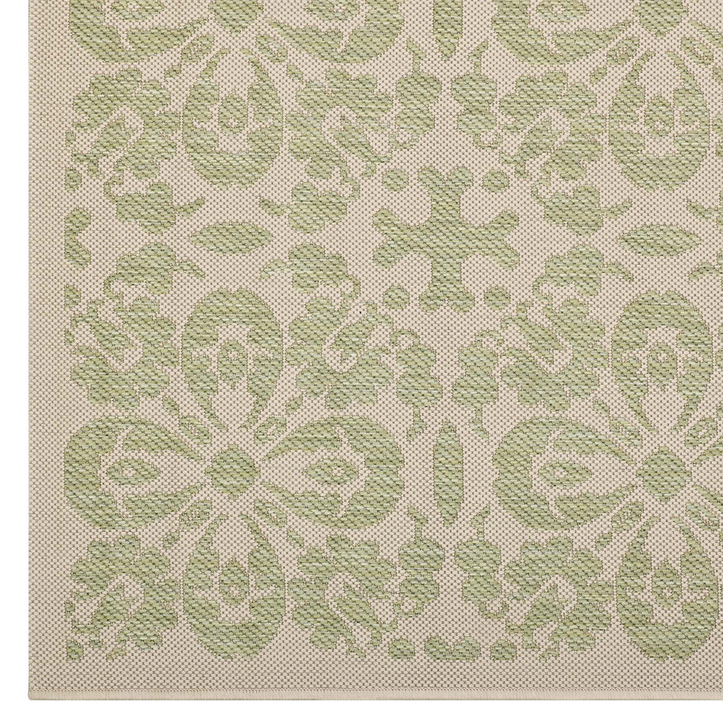 Ariana Vintage Floral Trellis 5x8 Indoor and Outdoor Area Rug in Light Green and Beige