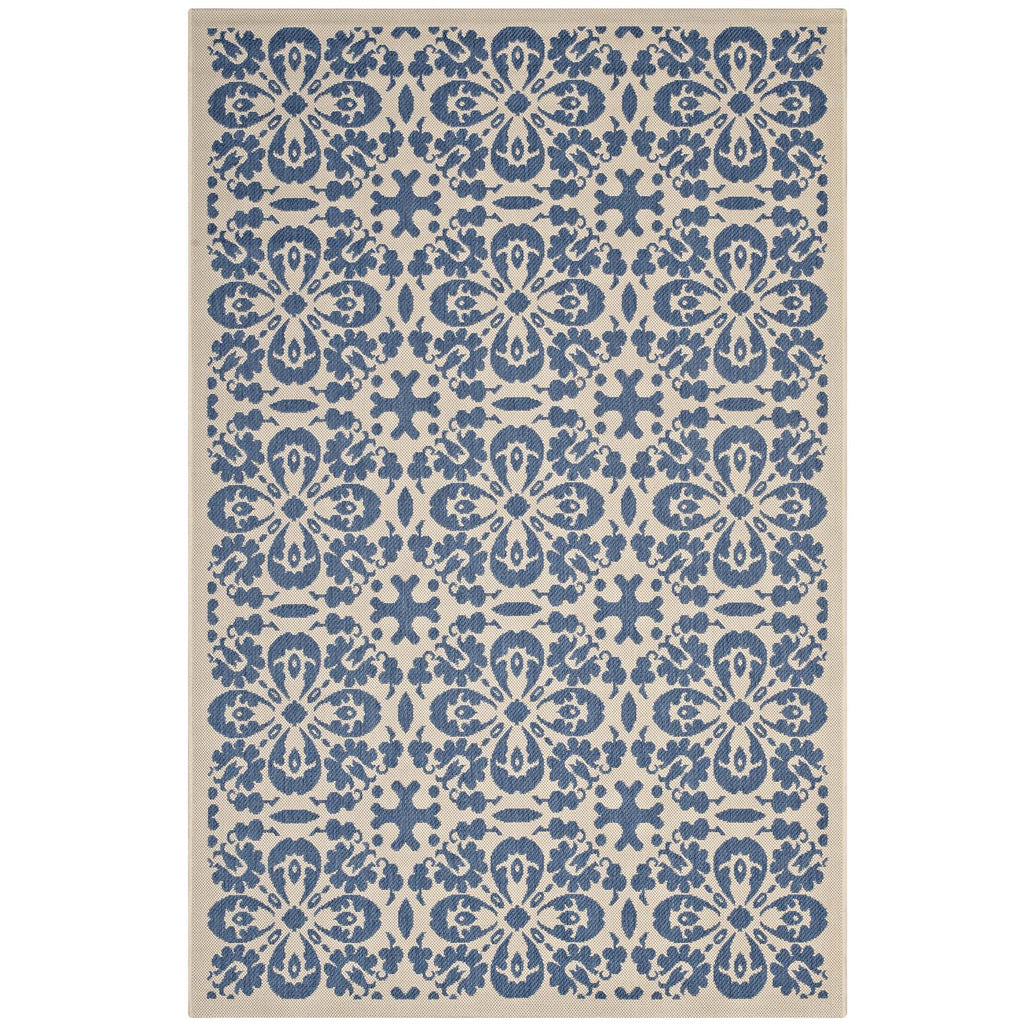 Ariana Vintage Floral Trellis 8x10 Indoor and Outdoor Area Rug in Blue and Beige