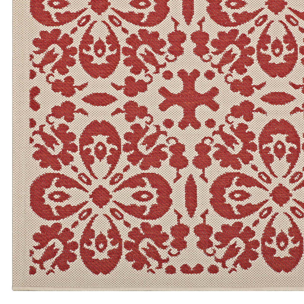 Ariana Vintage Floral Trellis 5x8 Indoor and Outdoor Area Rug in Red and Beige