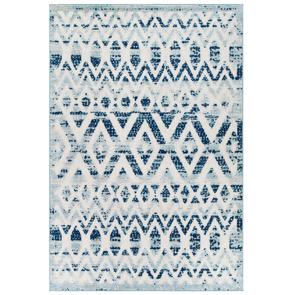 Reflect Tamako Diamond and Chevron Moroccan Trellis 5x8 Indoor / Outdoor Area Rug in Ivory and Blue