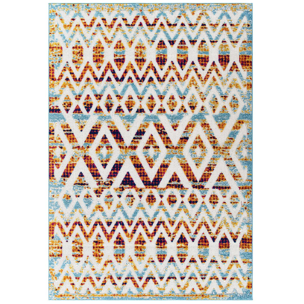 Reflect Tamako Diamond and Chevron Moroccan Trellis 5x8 Indoor / Outdoor Area Rug
