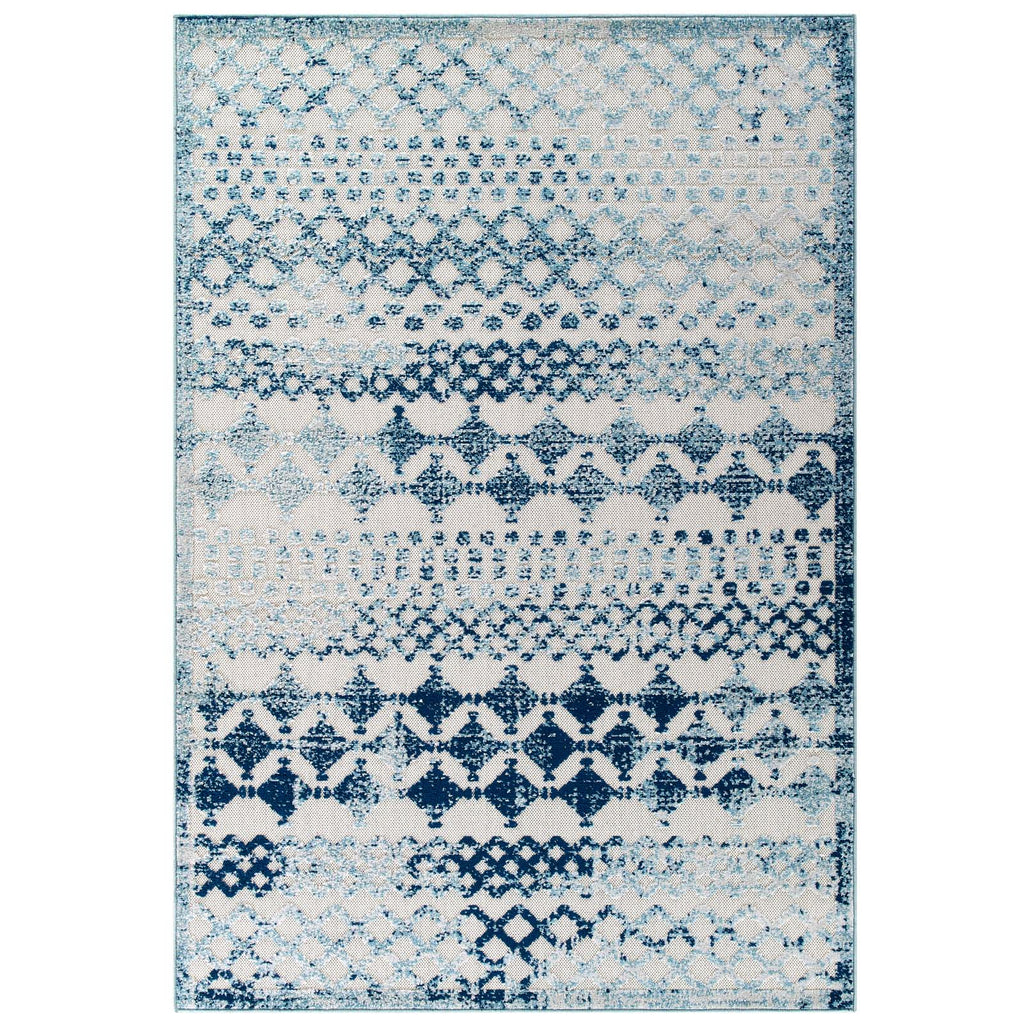 Reflect Giada Abstract Diamond Moroccan Trellis 5x8 Indoor/Outdoor Area Rug in Ivory and Blue