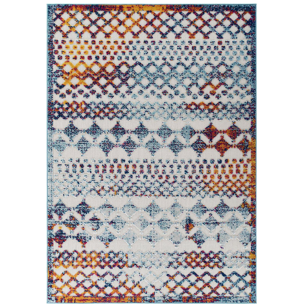 Reflect Giada Abstract Diamond Moroccan Trellis 8x10 Indoor/Outdoor Area Rug