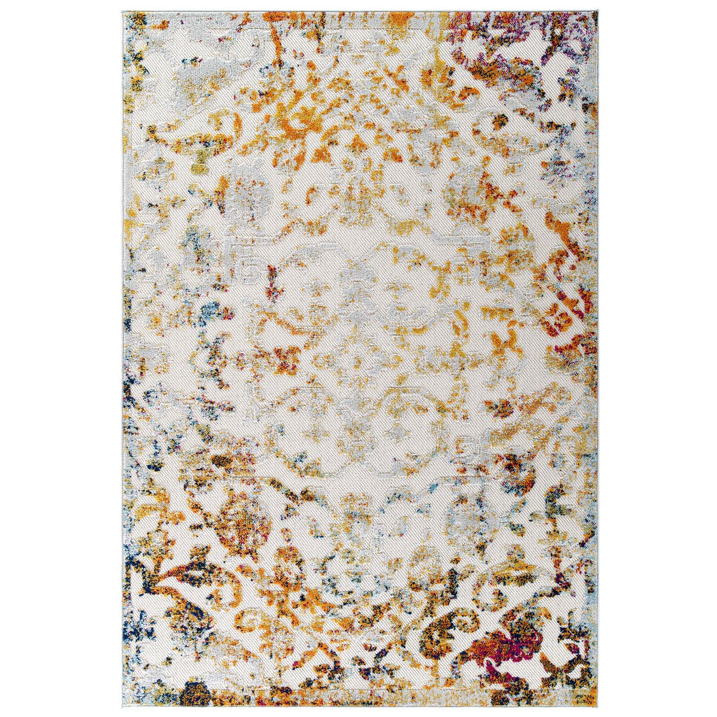 Reflect Primrose Ornate Floral Lattice 5x8 Indoor/Outdoor Area Rug in Ivory, Light Blue