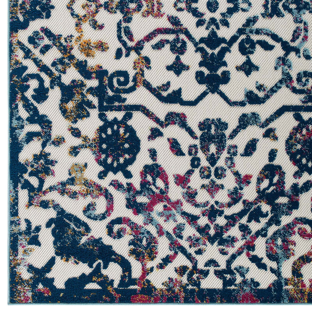 Reflect Primrose Ornate Floral Lattice 5x8 Indoor/Outdoor Area Rug in Ivory, Dark Blue