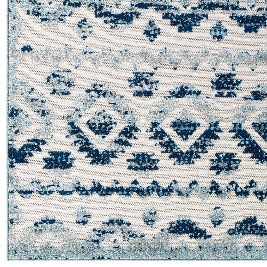 Reflect Takara Abstract Diamond Moroccan Trellis 5x8 Indoor and Outdoor Area Rug in Ivory and Blue
