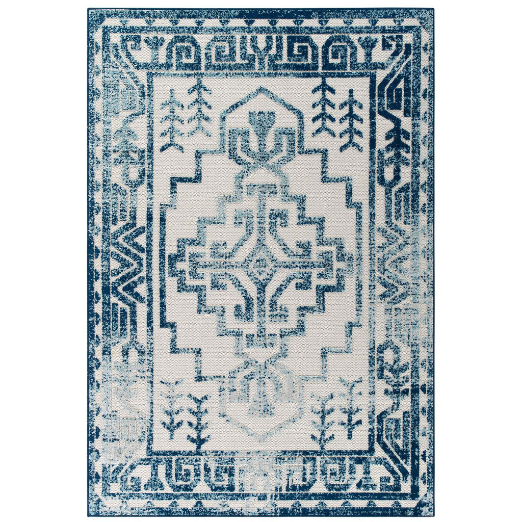Reflect Nyssa Distressed Geometric Southwestern Aztec 5x8 Indoor/Outdoor Area Rug in Ivory and Blue