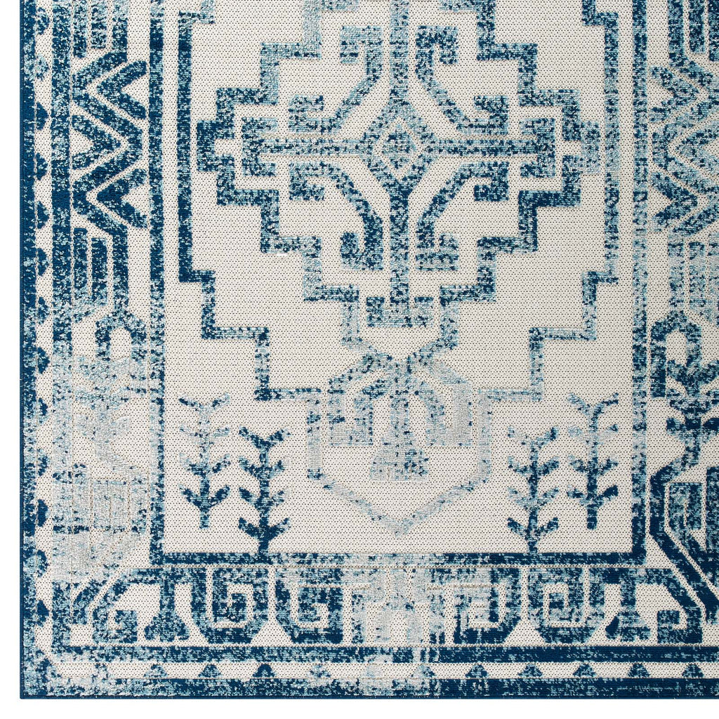 Reflect Nyssa Distressed Geometric Southwestern Aztec 8x10 Indoor/Outdoor Area Rug in Ivory and Blue