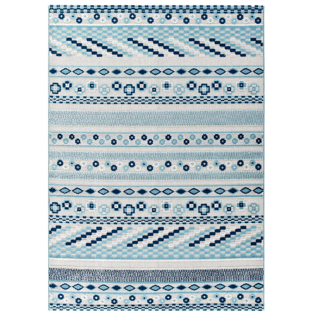 Reflect Cadhla Vintage Abstract Geometric Lattice 5x8 Indoor and Outdoor Area Rug in Ivory and Blue
