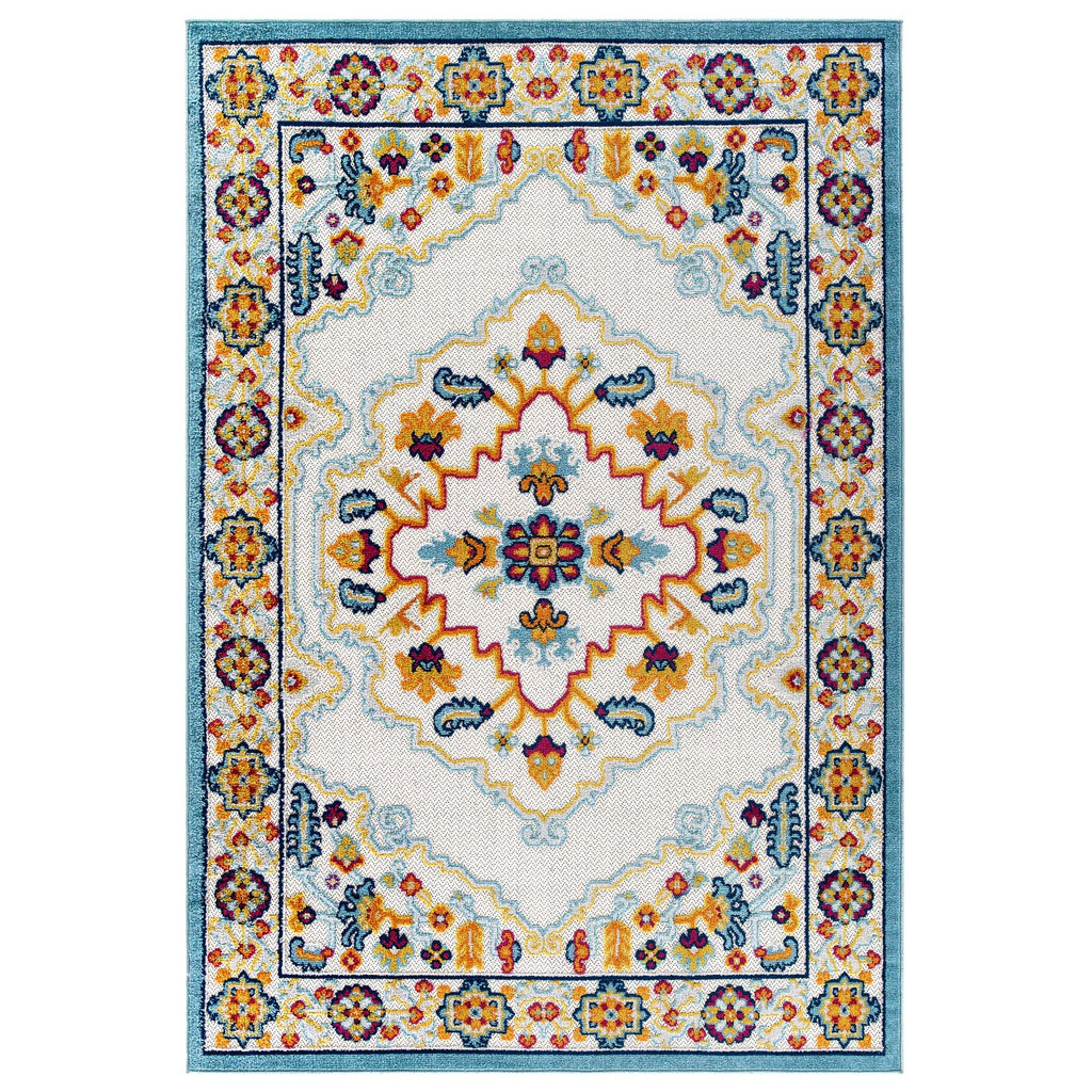 Reflect Ansel Distressed Floral Persian Medallion 5x8 Indoor and Outdoor Area Rug