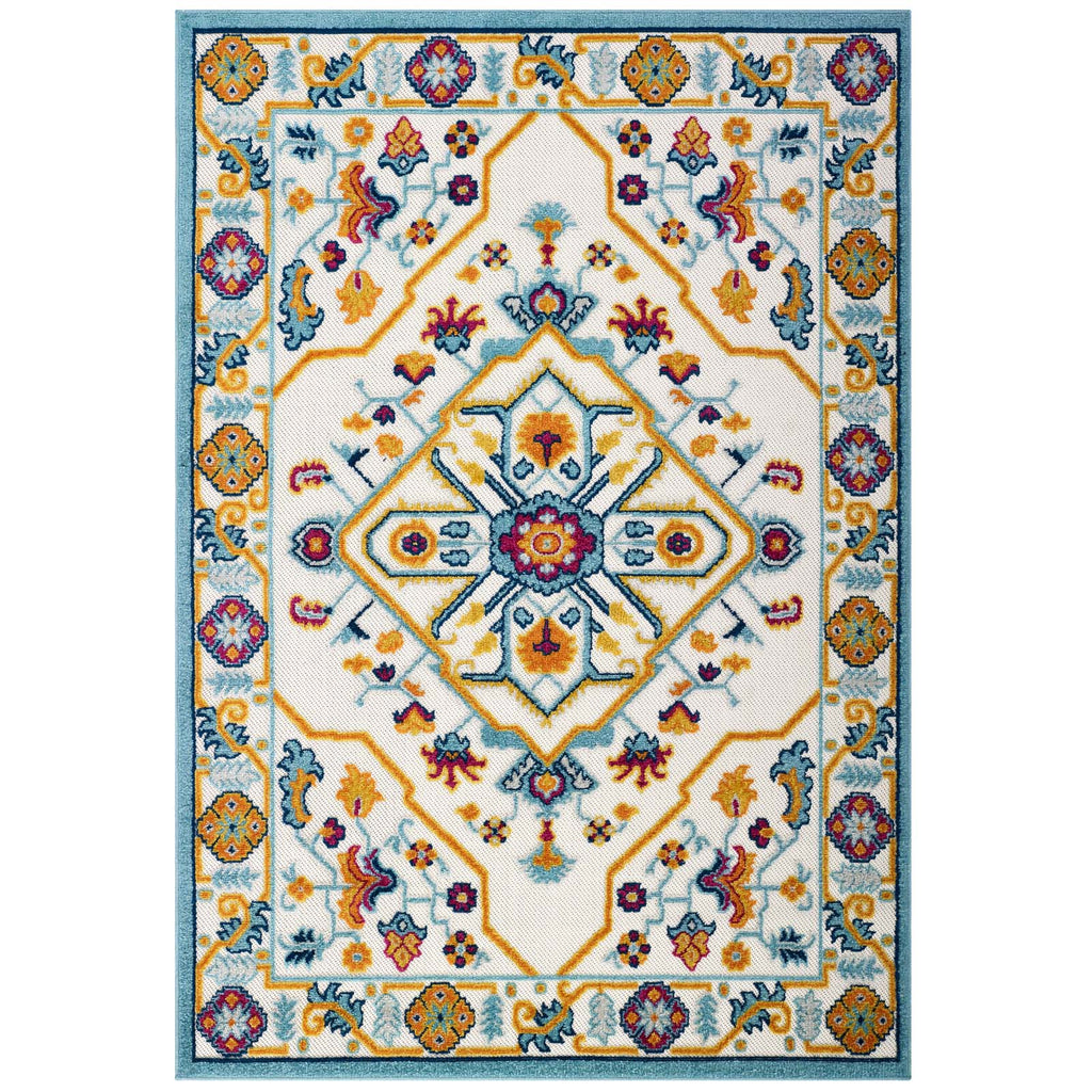 Reflect Freesia Distressed Floral Persian Medallion 5x8 Indoor and Outdoor Area Rug