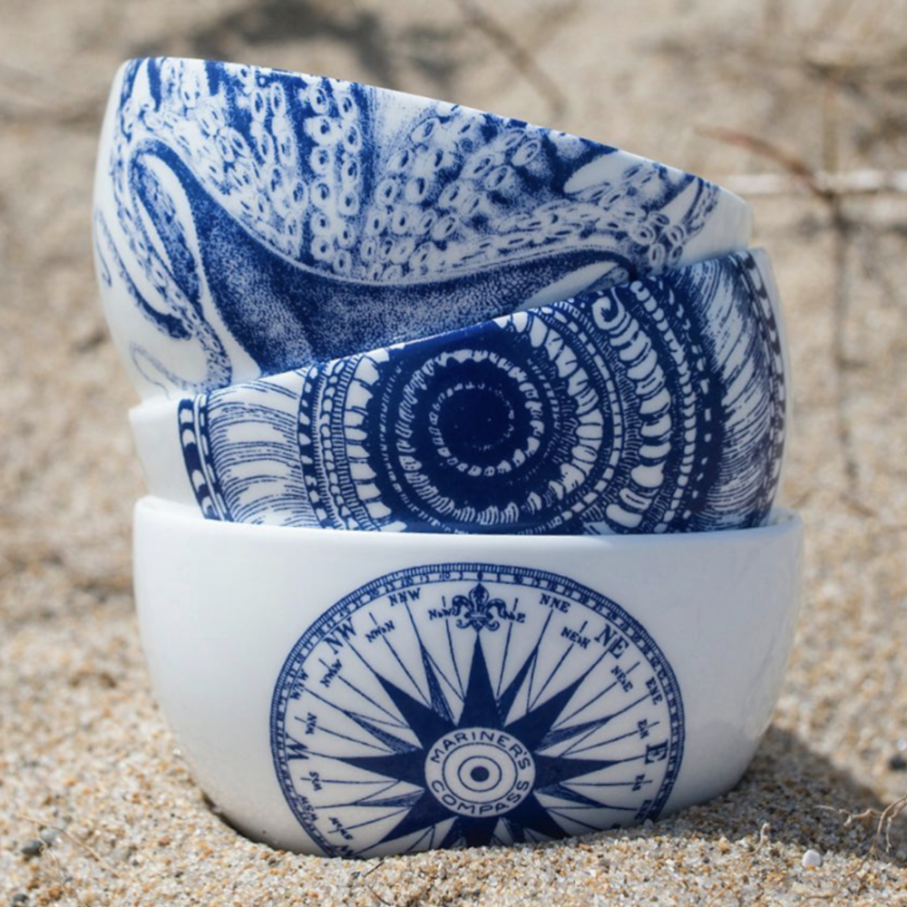 SHELLS BLUE SNACK BOWL