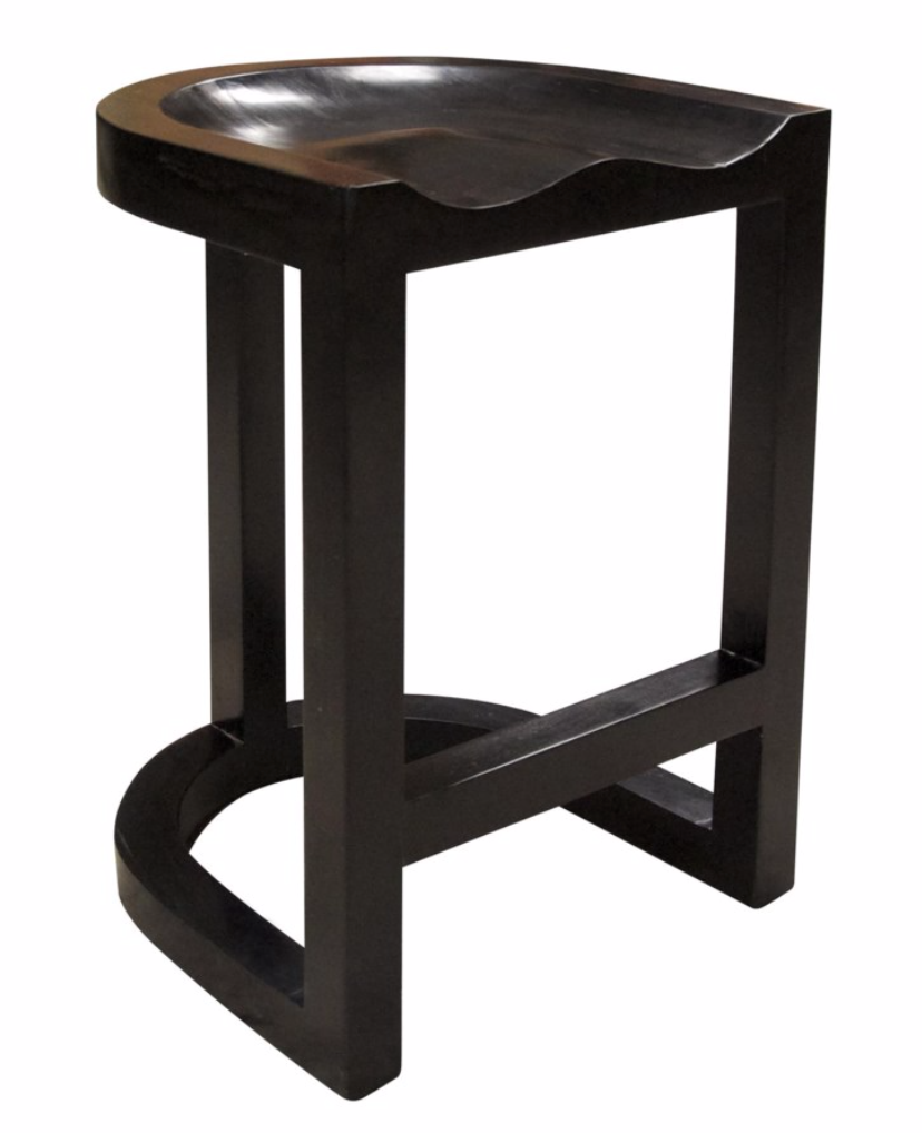 Saddle Counter Stool, Hand Rubbed Black