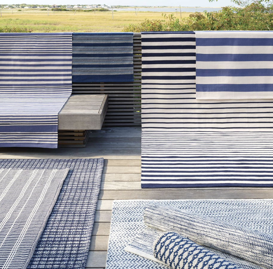 Catamaran Stripe Denim & Ivory Indoor/Outdoor Rug