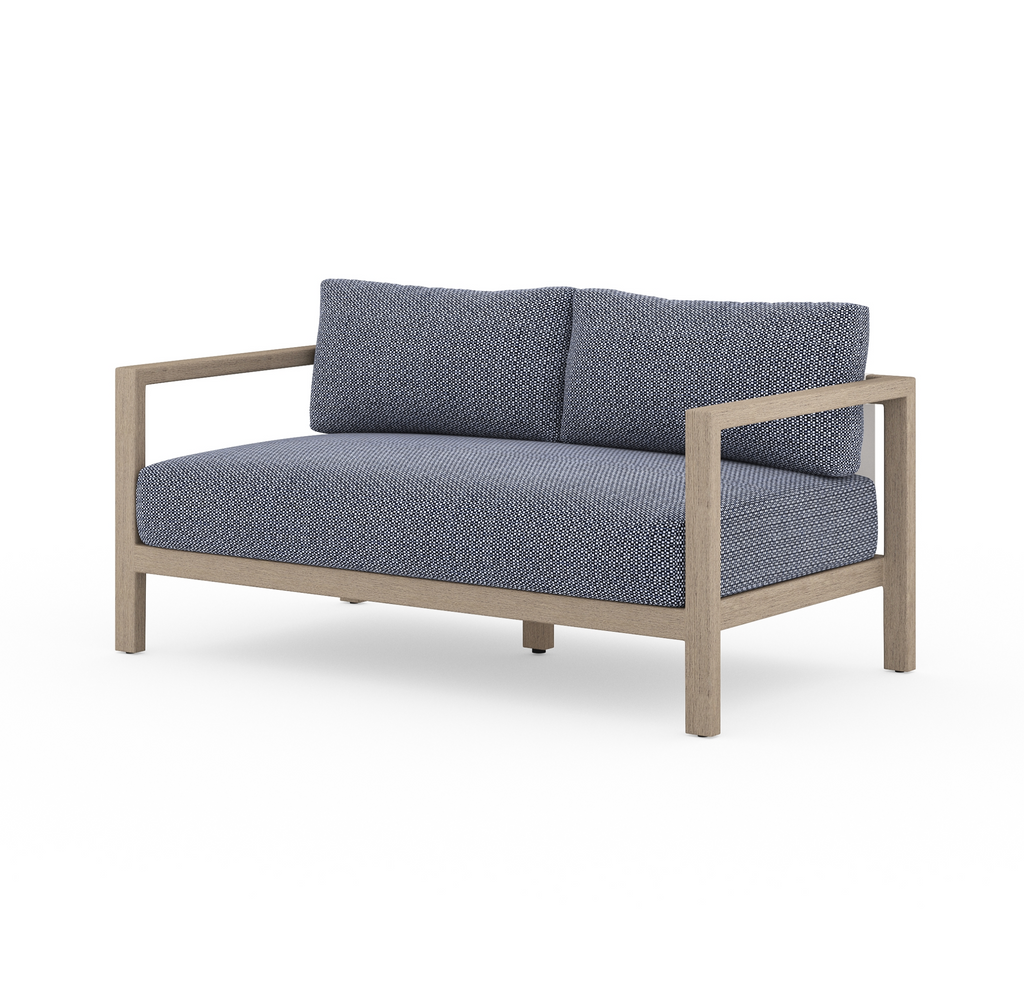 "Sonoma Outdoor Sofa 60"", Washed Brown & Navy"