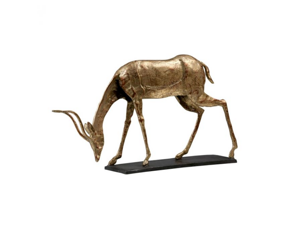 ANTELOPE CURVED HORN STATUE, GOLD