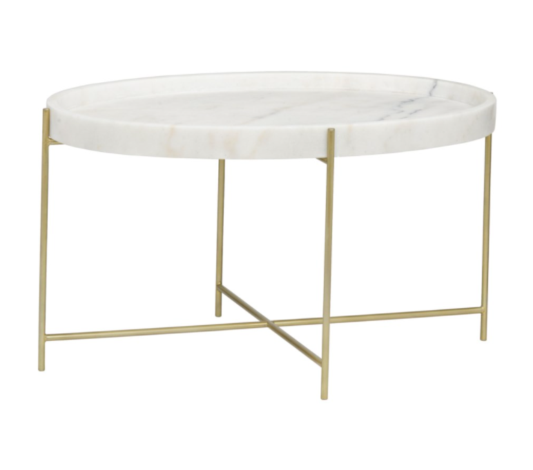 Che Cocktail Table,Antique Brass,Metal and Stone