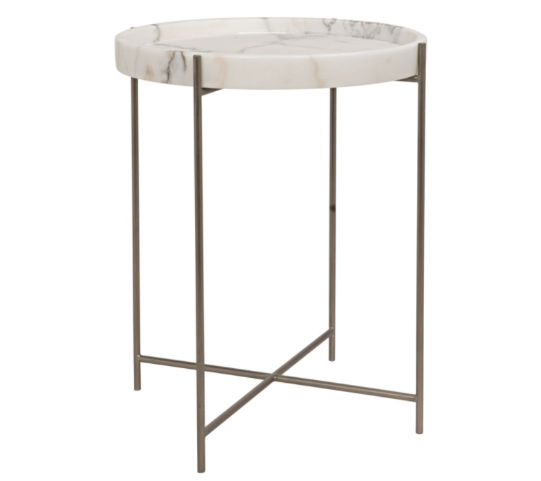 Chico Side Table,Antique Silver,Metal and Stone